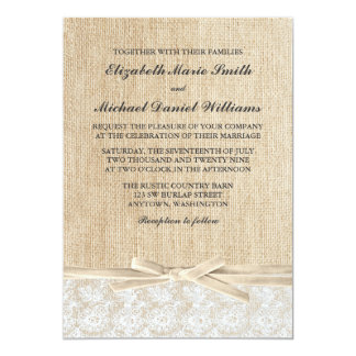 Rustic Burlap Lace Ivory Ribbon Wedding Card