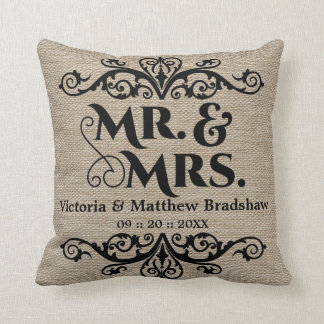 Rustic Burlap Look Mr. and Mrs. Wedding Cushion