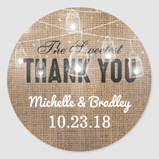 Rustic Burlap Mason Jar Thank You Classic Round Sticker