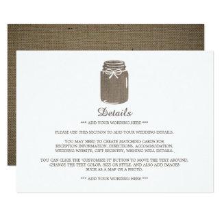 Rustic Burlap Mason Jar Wedding Detail Card