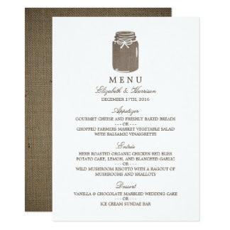 Rustic Burlap Mason Jar Wedding Menu 11 Cm X 16 Cm Invitation Card