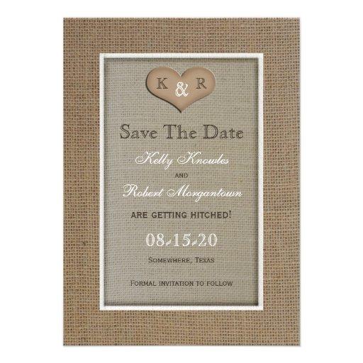 Rustic Burlap Save the Date Invitation Announcements