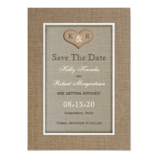 Rustic Burlap Save the Date Invitation