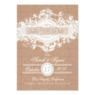 RUSTIC BURLAP VINTAGE FLOWER SAVE THE DATE CARD