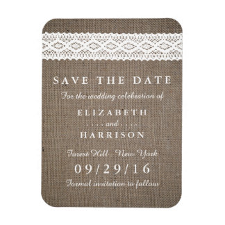 Rustic Burlap & Vintage White Lace Save The Date Rectangular Photo Magnet
