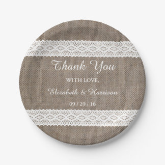 Rustic Burlap & Vintage White Lace Wedding 7 Inch Paper Plate
