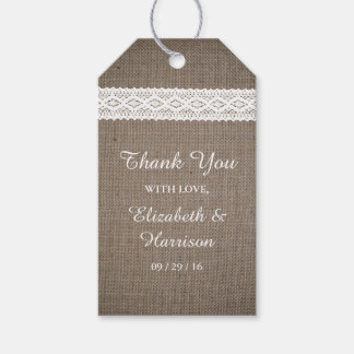 Rustic Burlap & Vintage White Lace Wedding Gift Tags