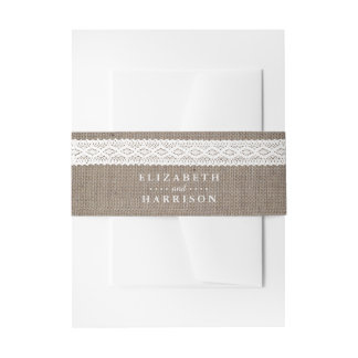Rustic Burlap & Vintage White Lace Wedding Invitation Belly Band