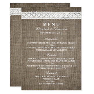 Rustic Burlap & Vintage White Lace Wedding Menu 11 Cm X 16 Cm Invitation Card