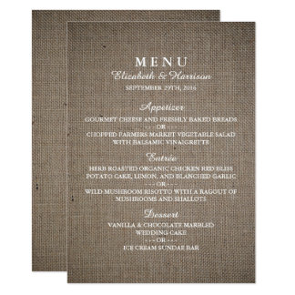 Rustic Burlap Wedding Menu 11 Cm X 16 Cm Invitation Card