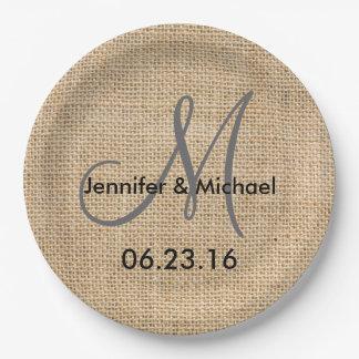 Rustic Burlap Wedding Monogram Names Date 9 Inch Paper Plate