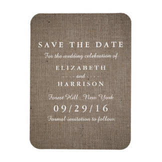 Rustic Burlap Wedding Save The Date Rectangular Photo Magnet