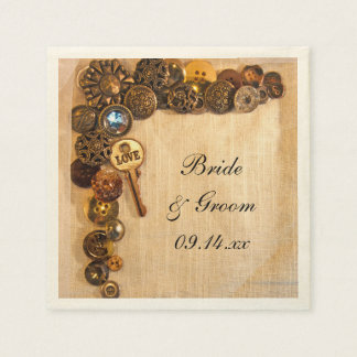 Rustic Buttons Country Wedding Paper Napkins