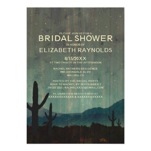 Rustic Cactus Bridal Shower Invitations Custom Invitation