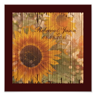 rustic cardboard country sunflower wedding photo print