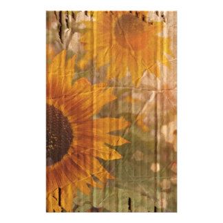 rustic cardboard country sunflower wedding stationery