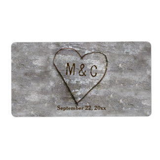 Rustic Carved Birch Heart Monogram Shipping Label