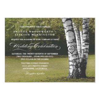 Rustic Carved Heart Birch Tree Wedding Invitations