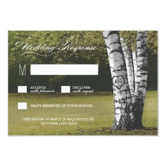 Rustic Carved Heart Birch Tree Wedding RSVP Cards 9 Cm X 13 Cm Invitation Card