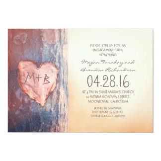 Rustic carved heart tree engagement  party card