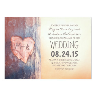 Rustic carved heart tree wedding invites