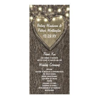 Rustic Carved Oak Tree Country Wedding Programs Rack Card