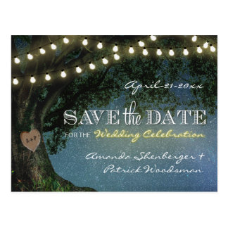 Rustic Carved Oak Tree Wedding Save The Date Cards Postcard