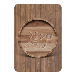 Rustic Carved Wooden Barrel  Wedding RSVP Card
