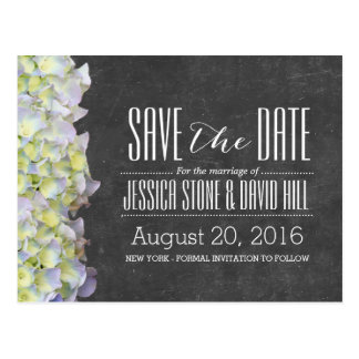 Rustic Chalkboard Hydrangea Wedding Save the Date Postcard