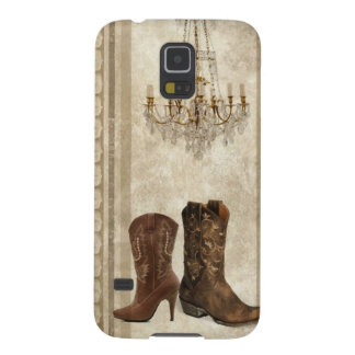 Rustic Chandelier Western country cowboy boots Case For Galaxy S5