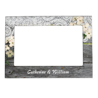 Rustic Chic Fence with Lace Custom Wedding Photo Magnetic Frame