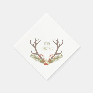 Rustic Christmas | Antler & Candy Canes Paper Serviettes
