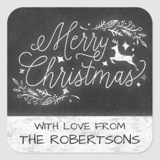 Rustic Christmas Chalkboard Deer Gift Tag