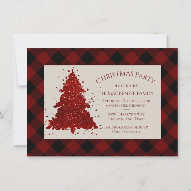 Rustic Christmas Tree Buffalo Plaid Chequered Holiday Card Zazzle Co Nz