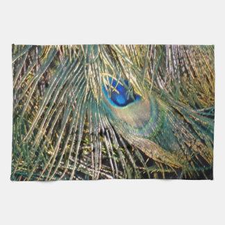 Rustic Color Peafowl Feathers Tea Towel