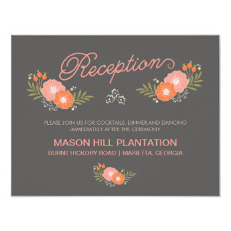 Rustic Coral Floral Reception Cards 11 Cm X 14 Cm Invitation Card