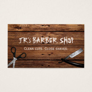 Rustic Country Barber Shop Scissors and Razor Business Card