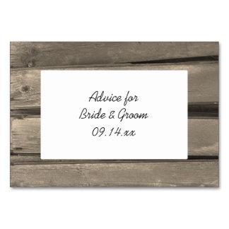 Rustic Country Barn Wood Wedding Advice Cards Table Card