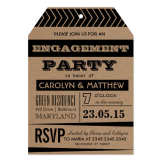 Rustic | Country Brown Black Enagagement Party Tag Card