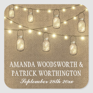 Rustic Country Burlap Mason Jar Wedding Favors Square Sticker