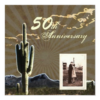 Rustic country cactus western 50th anniversary custom invitation