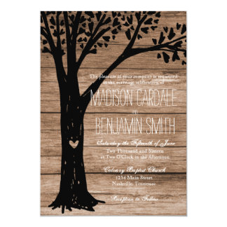 Rustic Country Carved Heart Tree Wedding Invites