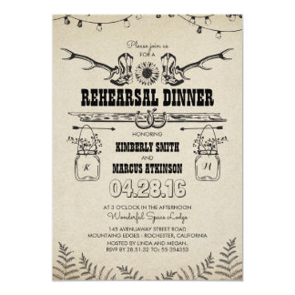 Rustic Country Cowboy Boots Rehearsal Dinner 13 Cm X 18 Cm Invitation Card