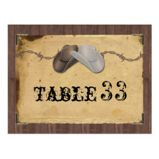 Rustic Country Cowboy Hats Barbed Table Number Postcard