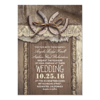 Rustic Country Horseshoes and Burlap Lace Wedding Card