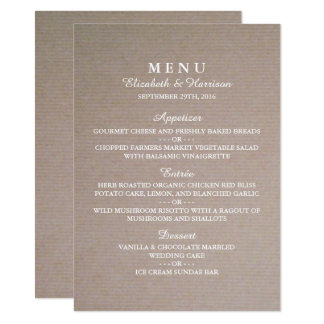 Rustic Country Kraft Wedding Menu Card