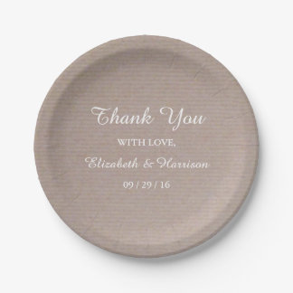 Rustic Country Kraft Wedding Reception Thank You 7 Inch Paper Plate