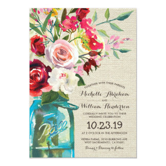 Rustic Country Mason Jar Floral Formal Wedding Card