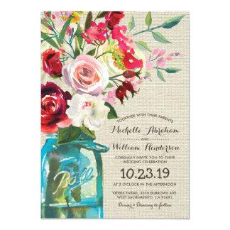 Rustic Country Mason Jar Floral Formal Wedding Card
