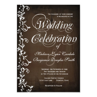 Rustic Country Swirls Brown Wedding Invitations
